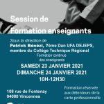 Formation gratuite enseignants 23-24 janvier 2021